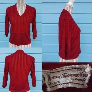 VTG Young Edwardian by Arpeja red top, sheer